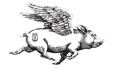 feral note studios website logo square with img of pig and company name